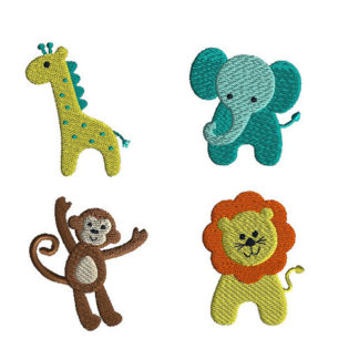 Mini Jungle Animals Machine Embroidery Designs