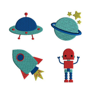 Mini Outer Space Machine Embroidery Design Set