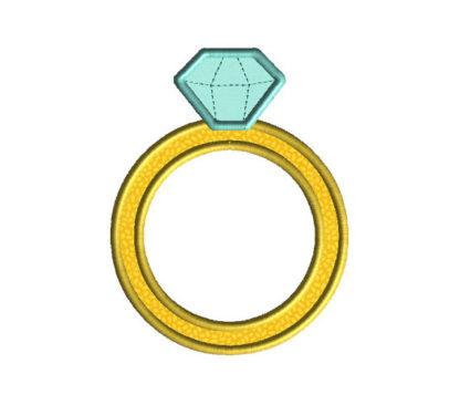 Diamond Ring Applique Machine Embroidery Design 2