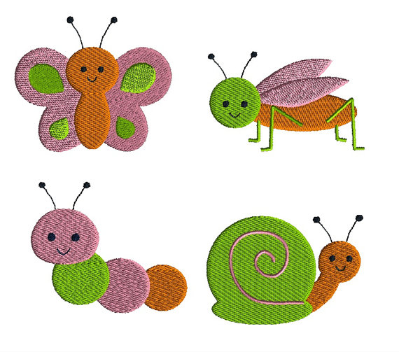 Mini Garden Critters Machine Embroidery Design Set