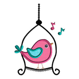 Bird on a Swing Applique Machine Embroidery Design1