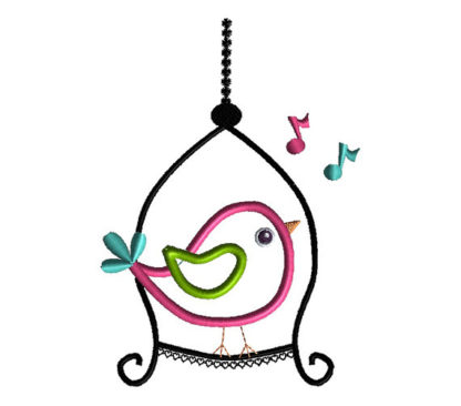 Bird on a Swing Applique Machine Embroidery Design 2