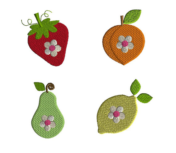 Mini Fruit with Flowers Machine Embroidery Design Set