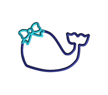 Whale with Bow Applique Machine Embroidery Design 2