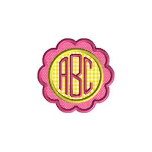 Flower Font Frame Applique Machine Embroidery Design 1