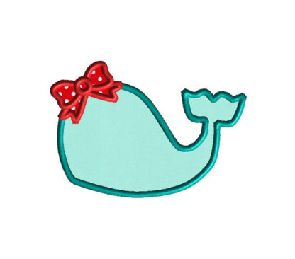 Whale with Bow Applique Machine Embroidery Design 3