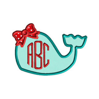 Whale with Bow Applique Machine Embroidery Design 1