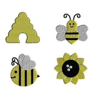 Mini Busy Bee Machine Embroidery Design Set