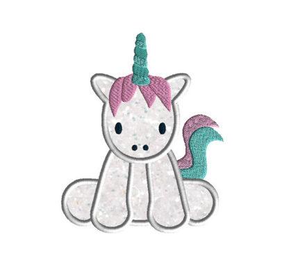 Baby Unicorn Applique Machine Embroidery Design 2