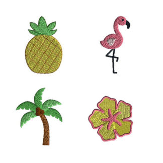 Mini Tropical Machine Embroidery Design Set