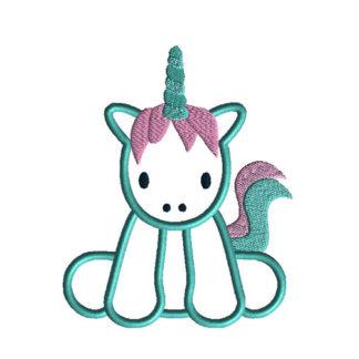 Baby Unicorn Applique Machine Embroidery Design 1