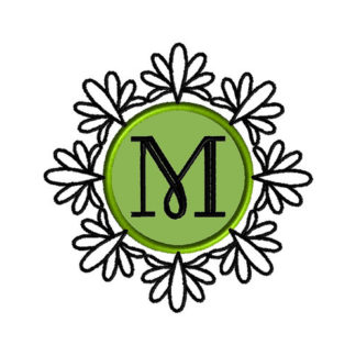 Ornate Monogram Frame Applique Machine Embroidery Design 1