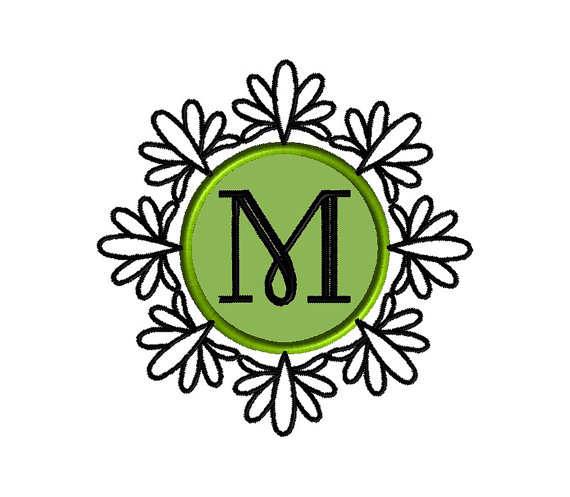 Ornate Monogram Frame Applique Machine Embroidery Design 1