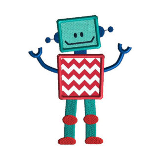 Little Robot Applique Machine Embroidery Design 1