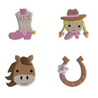 Mini Cowgirl Machine Embroidery Design Set