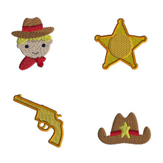 Mini Cowboy Machine Embroidery Design Set