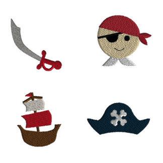 Mini Pirate Machine Embroidery Design Set