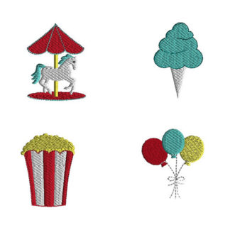 Mini Carnival Machine Embroidery Design Set