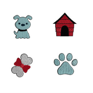 Mini Dog Machine Embroidery Design Set