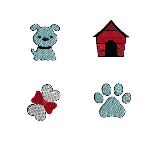 Mini Dog Machine Embroidery Design Set