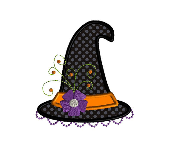 Witch Hat Proper Applique Machine Embroidery Design 1