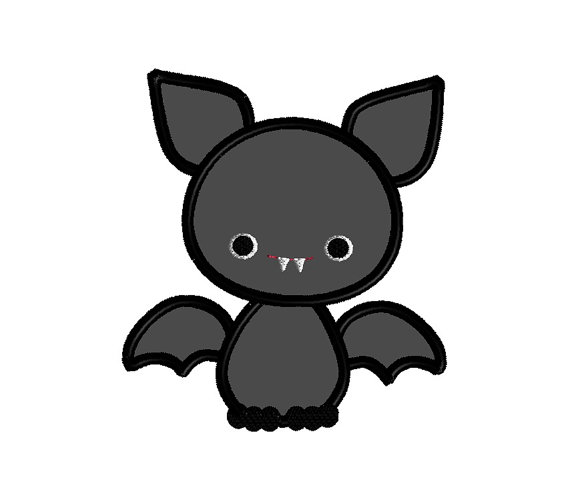Baby Bat Applique Machine Embroidery Design 1