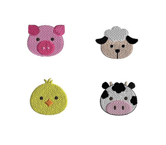 Mini Farm Animals Machine Embroidery Design Set