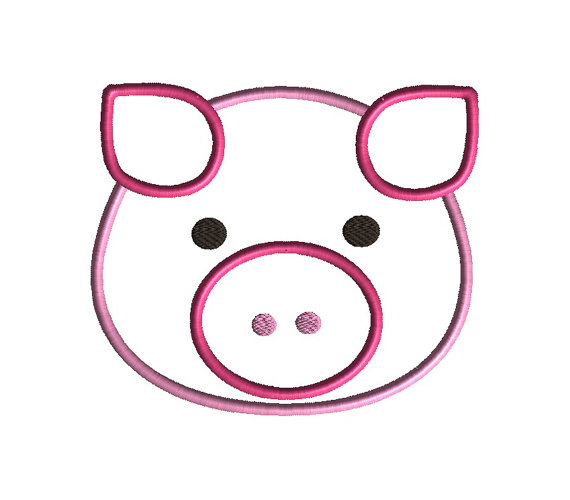 Pig Face Applique Machine Embroidery Design 2