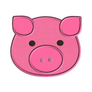 Pig Face Applique Machine Embroidery Design 1