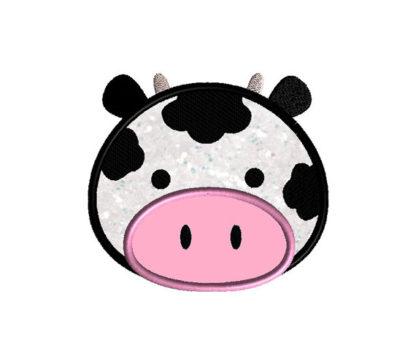 Cow Face Applique Machine Embroidery Design 1
