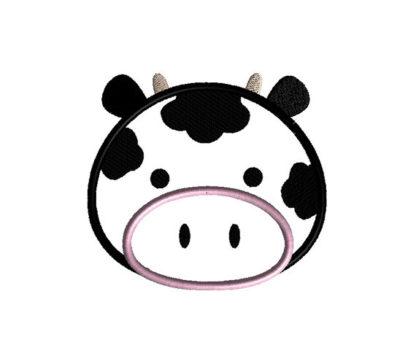 Cow Face Applique Machine Embroidery Design 2