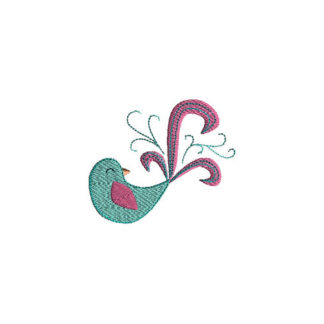 Pretty Bird Filled Stitch Applique Machine Embroidery Design 1