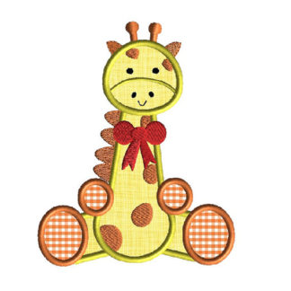 Giraffe Sitting Applique Machine Embroidery Design 1