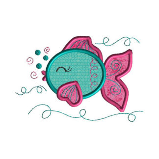 Cute Fish Applique Machine Embroidery Design 1