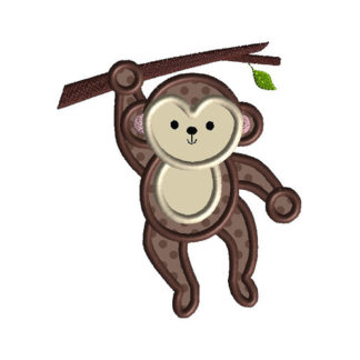 Monkey Hanging Applique Machine Embroidery Design 1