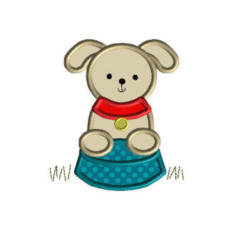 Cute Puppy Applique Machine Embroidery Design 1