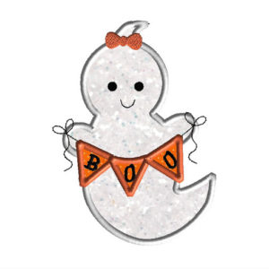 Ghost with Banner Applique Machine Embroidery Design 1