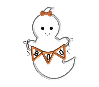 Ghost with Banner Applique Machine Embroidery Design 2
