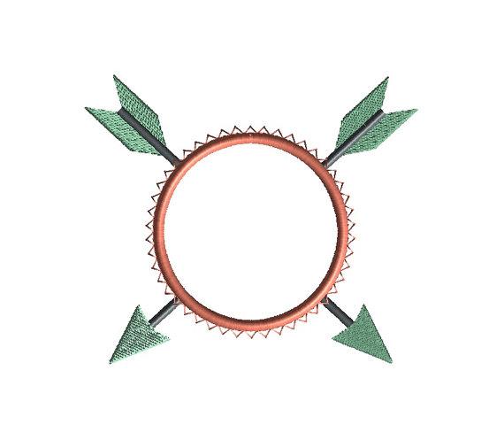 Arrow Monogram Frame Applique Machine Embroidery Design 4