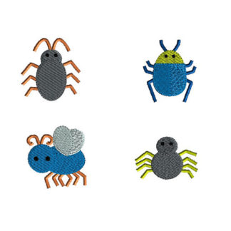 Mini Bugs Machine Embroidery Design Set