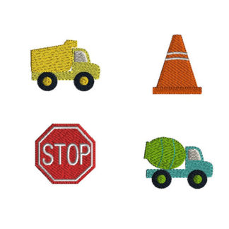 Mini Construction Machine Embroidery Design Set