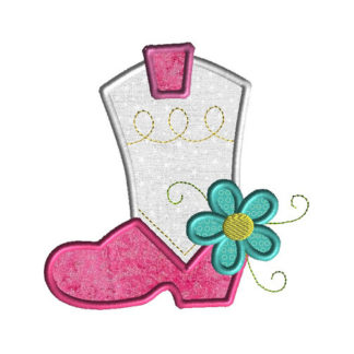 Cowgirl Boot with Flower Applique Machine Embroidery Design 1