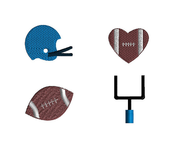 Mini Football Machine Embroidery Design Set