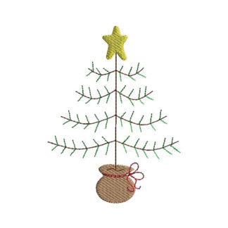 Primitive Christmas Tree Applique Machine Embroidery Design 1