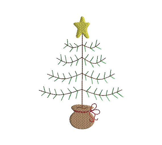 Primitive Christmas Tree.Primitive Christmas Tree Machine Embroidery Design