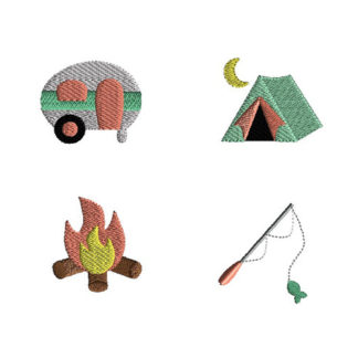 Mini Camping Machine Embroidery Design Set