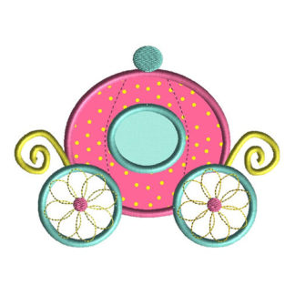 Princess Carriage Applique Machine Embroidery Design 1