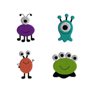 Mini Monster Machine Embroidery Design Set