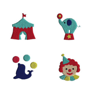 Mini Circus Machine Embroidery Design Set
