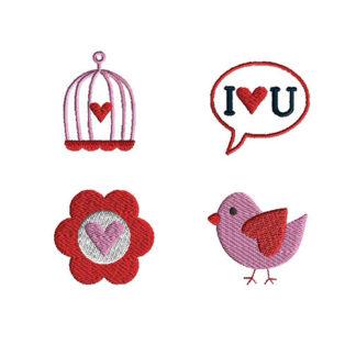 Mini Valentine Bird Machine Embroidery Design Set